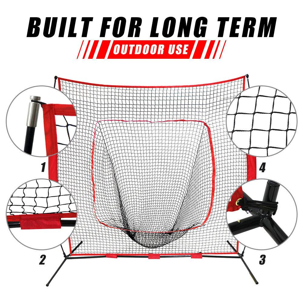Weather Resistant 7'×7′ Baseball Practice Net + Tripod Batting Tee W/Carry Bag Baseball & Softball