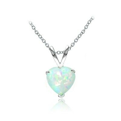 Sterling Silver Created White Opal 7mm Heart Solitaire (Created White Opal Solitaire)