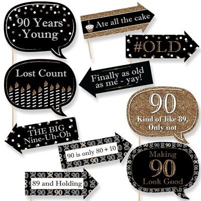 Funny Adult 90th Birthday - Gold - Birthday Party Photo Booth Props Kit-10 Count - 90th Birthday Party