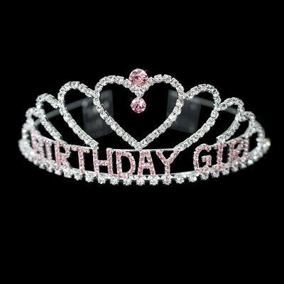 BIRTHDAY GIRL SHAPE CROWN TIARA CREAR & PINK RHINESTONE CRYSTAL FASHION JEWELRY - Pink Tiara
