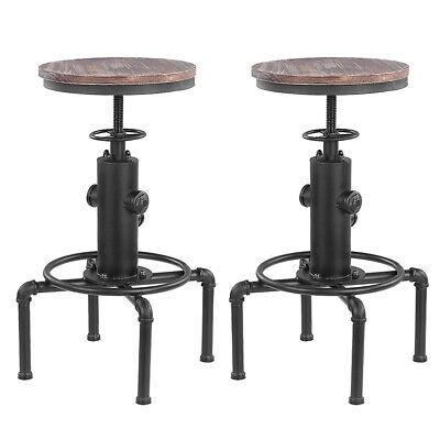 Swivel Barhocker (2st Metal Industrial Bar Hocker Stuhl Höhe Einstellbare Swivel Pinewood Top L2Q5)
