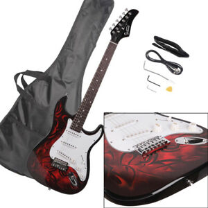 Glarry 22 Fret GST Electric Guitar Rosewood Fingerboard with Bag Pick Wire Red