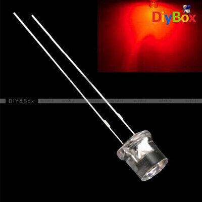 100pcs 5mm 2pin Flat Top Red Led Wide Angle Flat Head Light Lamp Diy