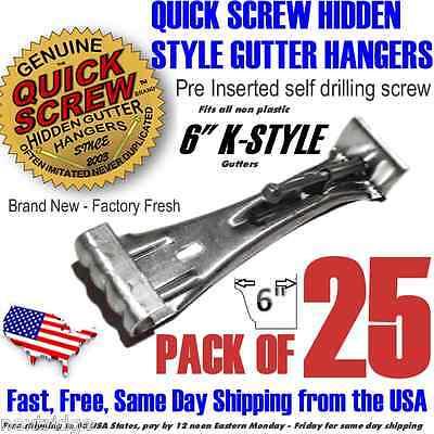 "25 6"" Inch Gutter Hangers Quick Screw Hidden Rain Bracket Hook Clip Style"
