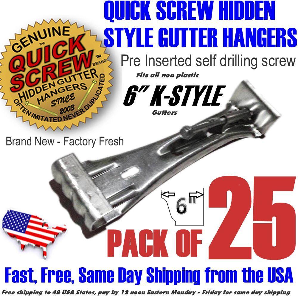 """Quick Screw 6"""" inch Aluminum Hidden Rain Gutter Bracket Hook"""