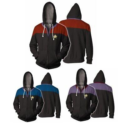 Men Star Trek Voyager Zipper Sweatshirt Costume Cosplay Hoodie Jacket New (Star Trek Voyager Kostüm)