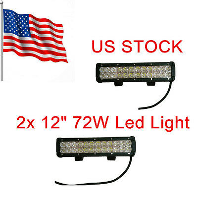 "2 X 12"" 72W CREE Led Work Light Bar Flood Spot Suv ATV Driving Lamp Offroad 4WD"