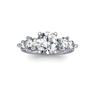 1.90 Ct. Natural Round Cut 5-Stone Diamond Engagement Ring - GIA Certified 1
