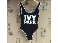 Beyonce Ivy Park Topshop New Unworn Swimsuit Bathing Suit Bodysuit White Black Spandex Nylon Leotard
