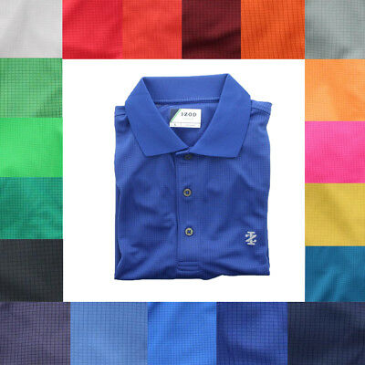 IZOD Men's Performance Three Button Grid Golf Quick Dry Lightweight Polo Shirt