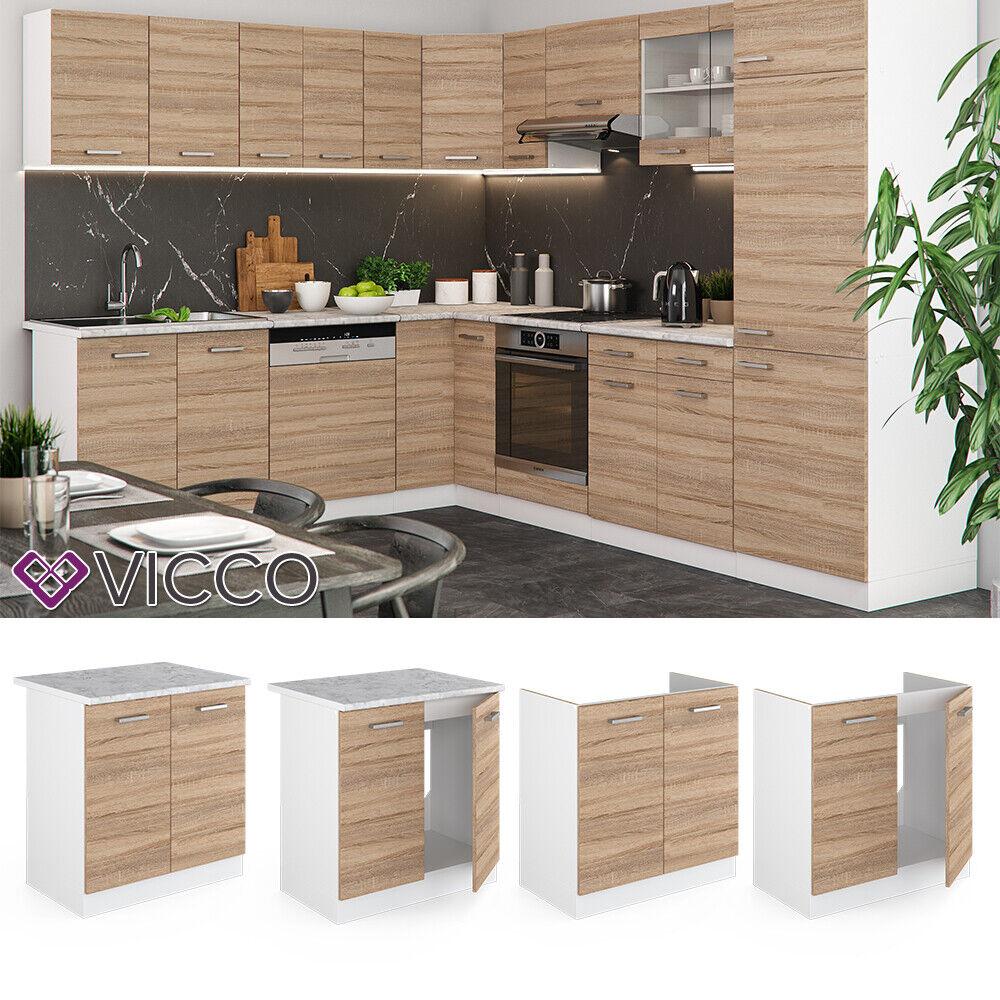 VICCO Küchenschrank Hängeschrank Unterschrank Küchenzeile R-Line Spülenunterschrank 80 cm sonoma