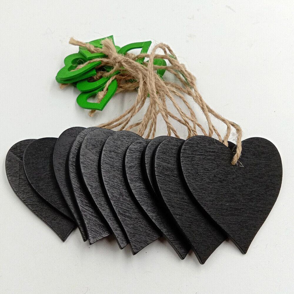 10pcs Blackboard Heart Shape Jute Rope Wooden Hanging Board Creative Chalkboard