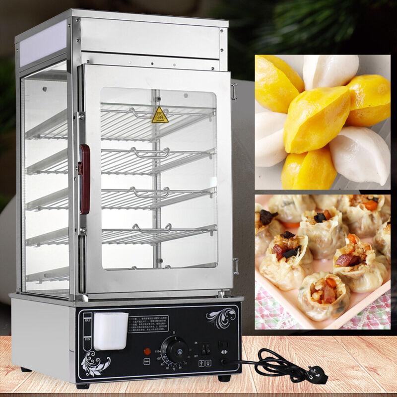 110V Commercial Electric Bun Steamer Kitchen Electric Food Display Warmer Cooker