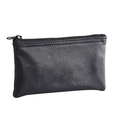 Black Leather Daily Zipper Closure Tobacco Pouch Holds 1 oz Pipe Tobacco - NEW