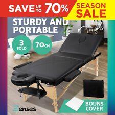 Portable Wooden Massage Table 3 Fold Black