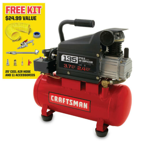 Craftsman 3 Gallon 1.0 HP Oil-Lubricated Air Compressor & 11 Piece Accessory