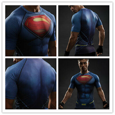 Batman VS Superman Herren Spandex Kurzarm T-Shirt  Cosplay Kostüm sportlich ()