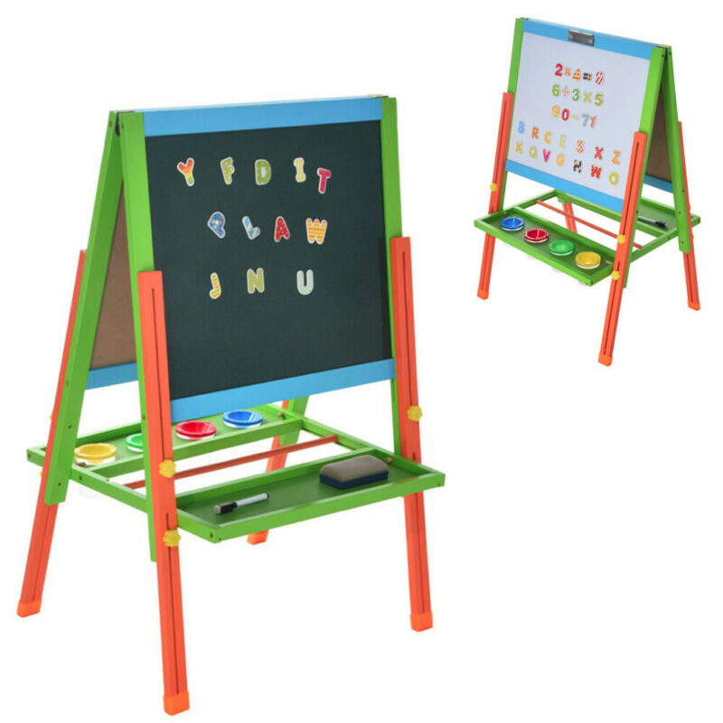 Kids Standing Art Easel Board with Whiteboard and Chalkboard