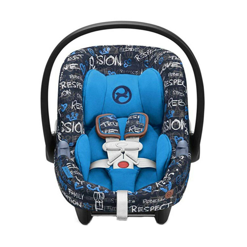 Cybex Aton M Rear Facing Infant Car Seat with SafeLock Base, Trust Blue