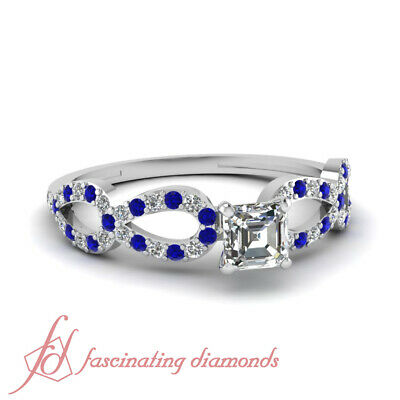 1 CARAT Asscher Cut VVS1 Diamond & Blue Sapphire Infinity Engagement Ring GIA