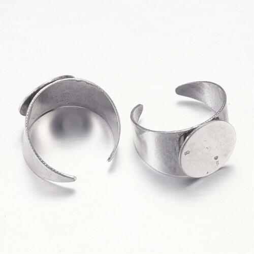 2 Ring Blanks Antiqued Silver Settings Adjustable Thick Rings Glue On Pad