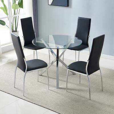 Dining Table Set Tempered Glass Round Dining Table with 4pcs PU Chairs Black