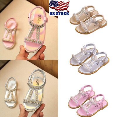Kids Girl Party Princess Pumps Rhinestone Slip On Sandals Infant Flat Shoes - Girls Party Shoes