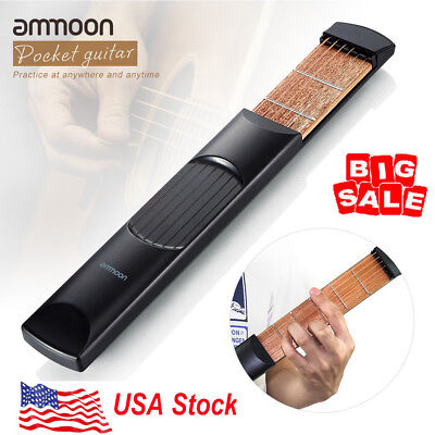Ammoon Portable Pocket Acoustic Guitar Practice Tool 6 String 6 Fret USA Ship