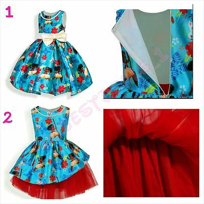 New Cute Moana Girls Fancy Party Dress Princess Kids Child Costume size 2T-7](Cute Costume For Girls)