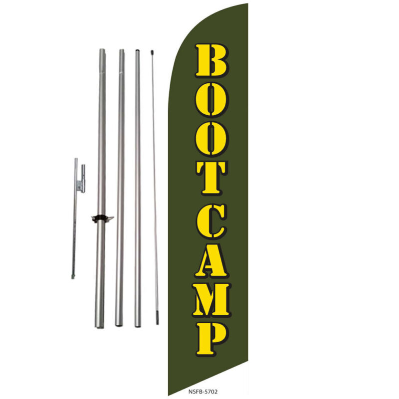 Bootcamp Fitness Crossfit Advertising Feather Banner Swooper Flag Kit + spike