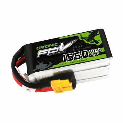 Ovonic 1550mAh 4S 100C 14.8V RC Lipo Power Battery XT60 Plug For FPV Quad Drone