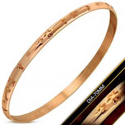 Damen Armreif Bracelet Edelstahl Rosegold mit Edlem Muster 4mm Breit