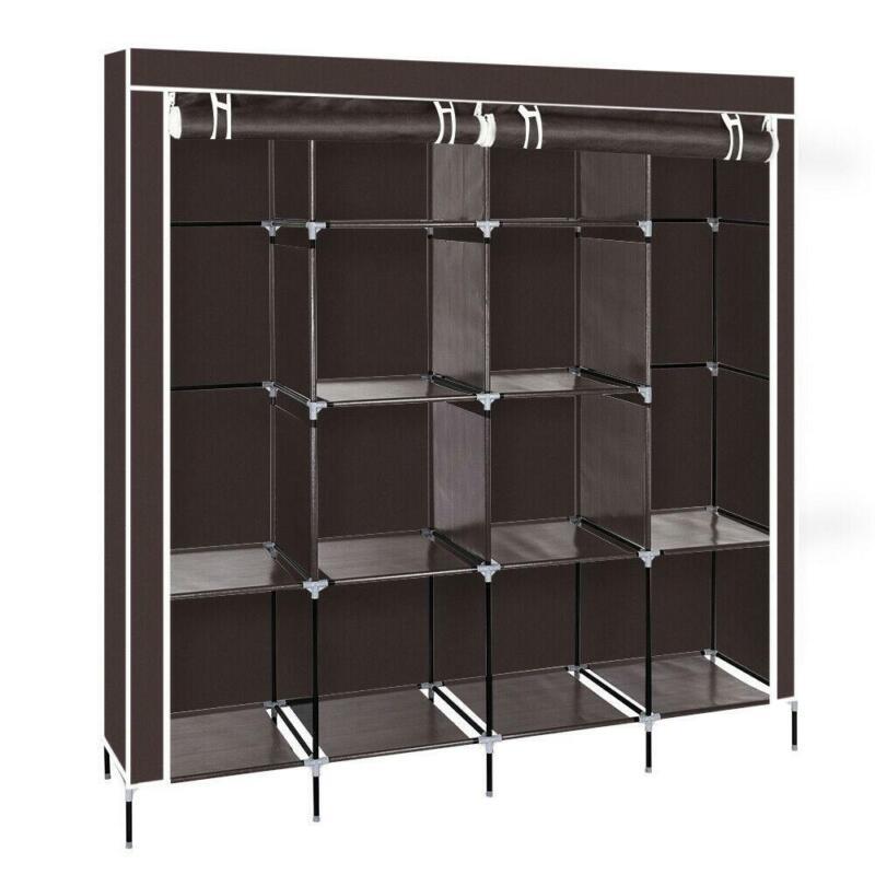 Portable Closet Wardrobe Clothes Rack Storage Space Organizer With Shelf Fabric