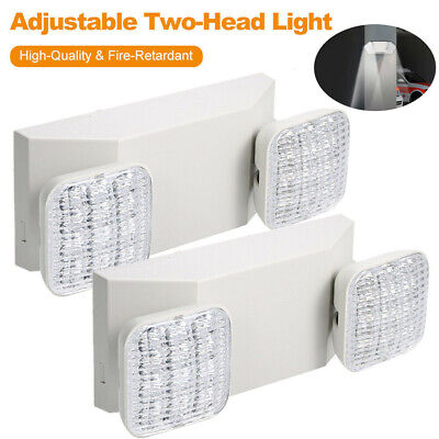 2 Pack Led Emergency Exit Light Adjustable 2 Head With Battery Back-up Ul 924