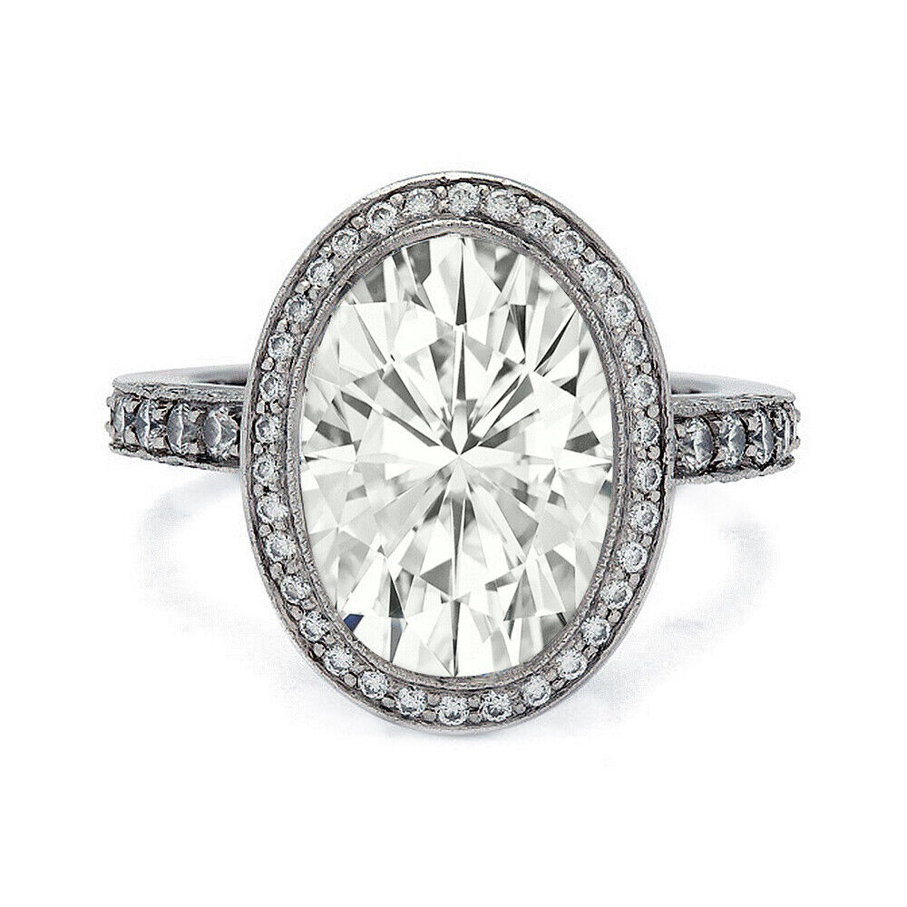 GIA Certified Diamond Engagement Halo Ring 4.89 carat total Oval Shape 18k Gold