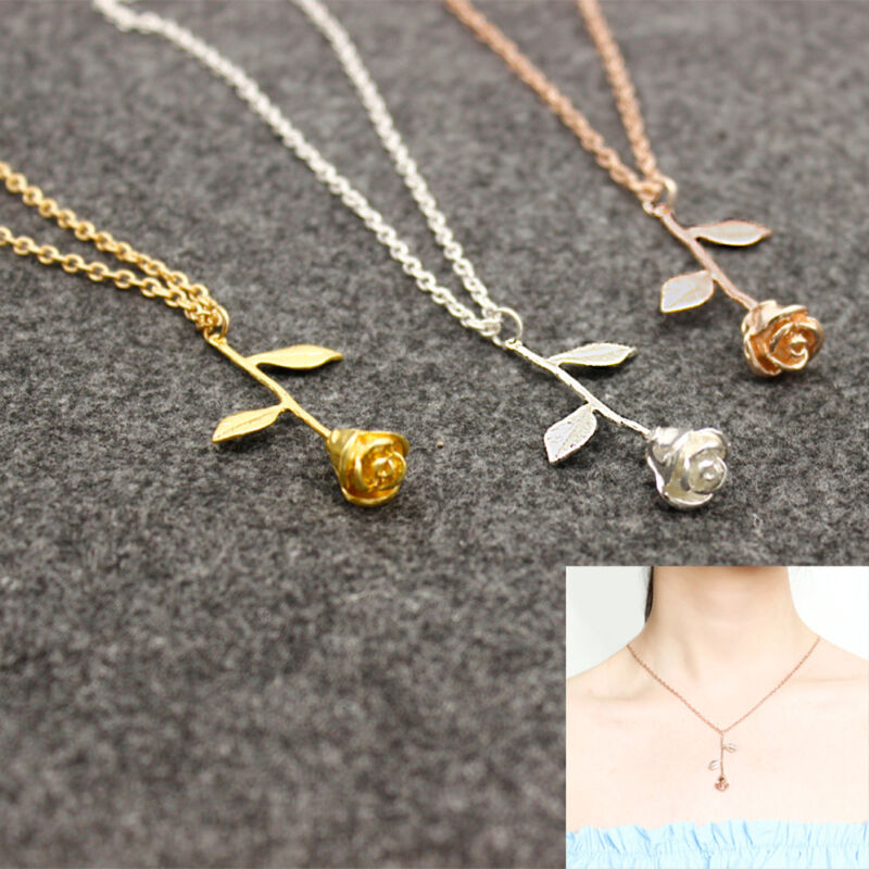 Jewelry - Delicate Rose Flower Pendant Necklace Beauty Rose Gold Silver Charm Jewelry C