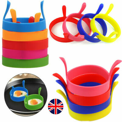 4* SILICONE EGG FRYING RINGS FRY FRIED POACHER MOULD PERFECT FOR PANCAKES RING.