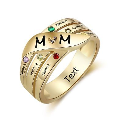 14k Gold Family Birthstone Ring (Personalized 14K Gold IP 6 Birthstone 6 Names MOM Mother's Family)