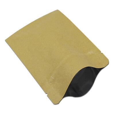 Flat Zip Lock Kraft Paper Aluminum Bag Packaging Mylar Brown Pouch Food Storage