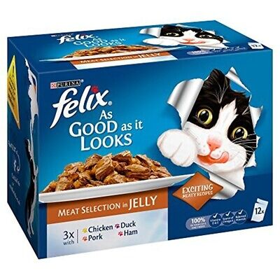 Felix As Good As It Looks Meat Selection Cat Food, 12 x 100 G