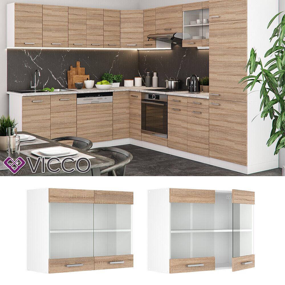 VICCO Küchenschrank Hängeschrank Unterschrank Küchenzeile R-Line Hängeglasschrank 80 cm sonoma