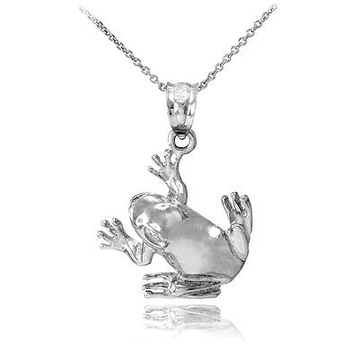 Frog Jewelry - 925 Sterling Silver Frog Pendant Necklace