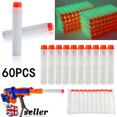 UK 60pcs Toy Gun Bullet Darts Soft Foam Round Head Blasters For Nerf N-Strike