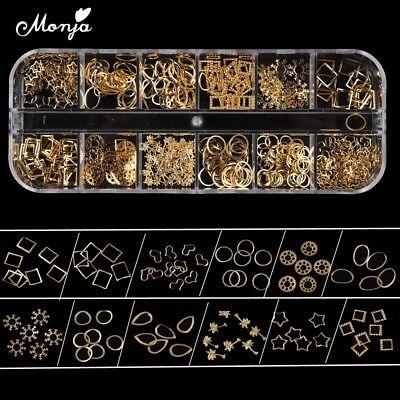 12 Grid Nail Art Star Heart Snowflake Gold Metal Studs 3D Charm Decoration