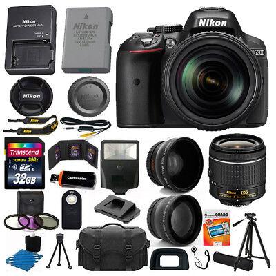 Nikon D5300 Digital SLR Camera 3 Lens Kit 18-55 VR Lens + 32GB All U Deprivation Bundle