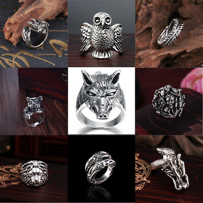 Wholesale Mens Stainless Steel Gothic Punk Motorcycle Biker Rings Jewelry 8-11 - Punk Wholesale