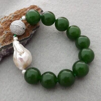 8'' 16MM Green Round Jade White Keshi Pearl Bracelet - Green Jade White Pearl