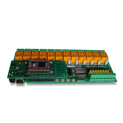 Ethernet 12 Way Relay Output And 16 Inputs Module Board Serial Rs232 Controlled