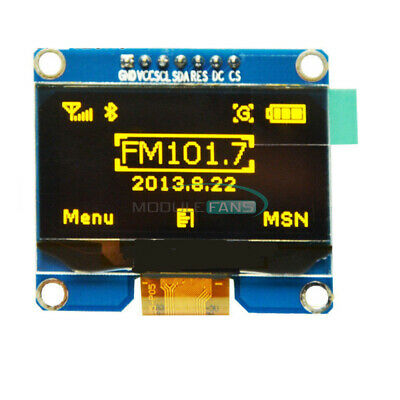 1.54 Yellow Spi Oled Lcd Led Display Module Spi For Arduino Avr Stm32 8051