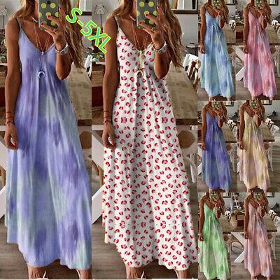 Womens Boho Floral Strappy Dress Summer Beach Party Maxi Dress Kaftan Plus Size